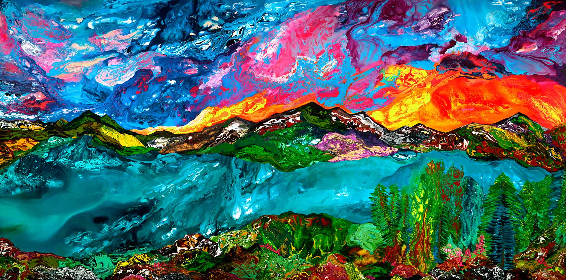 Spring Sunset painting by Diana Zoe Coop | panoramic view from Mount Fromme