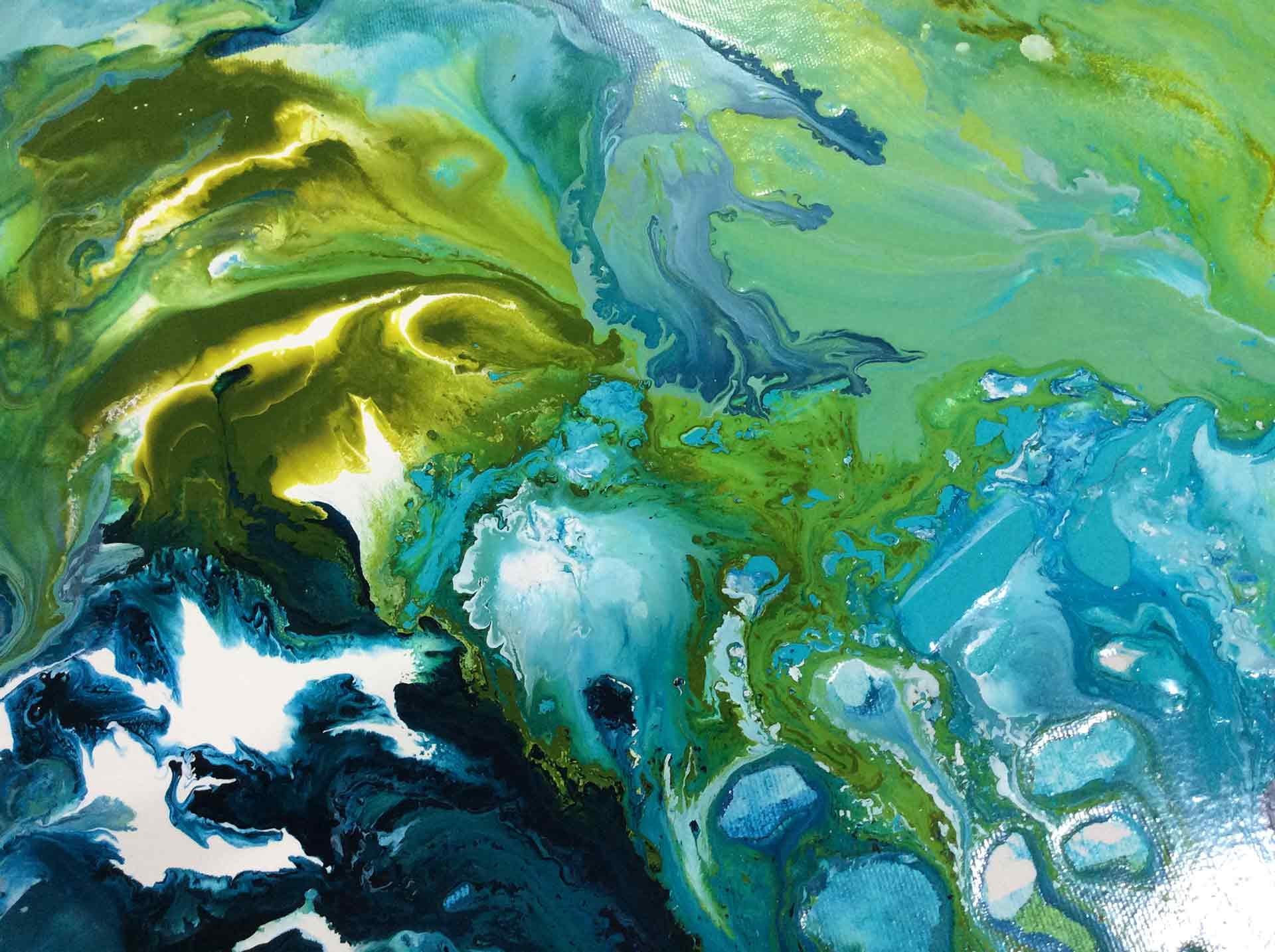 Abstract acrylic painting shades of green and blue by Diana Zoe Coop 2020