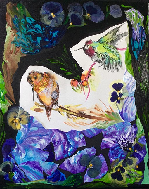original acrylic painting of two hummingbirds by Diana Zoe Coop