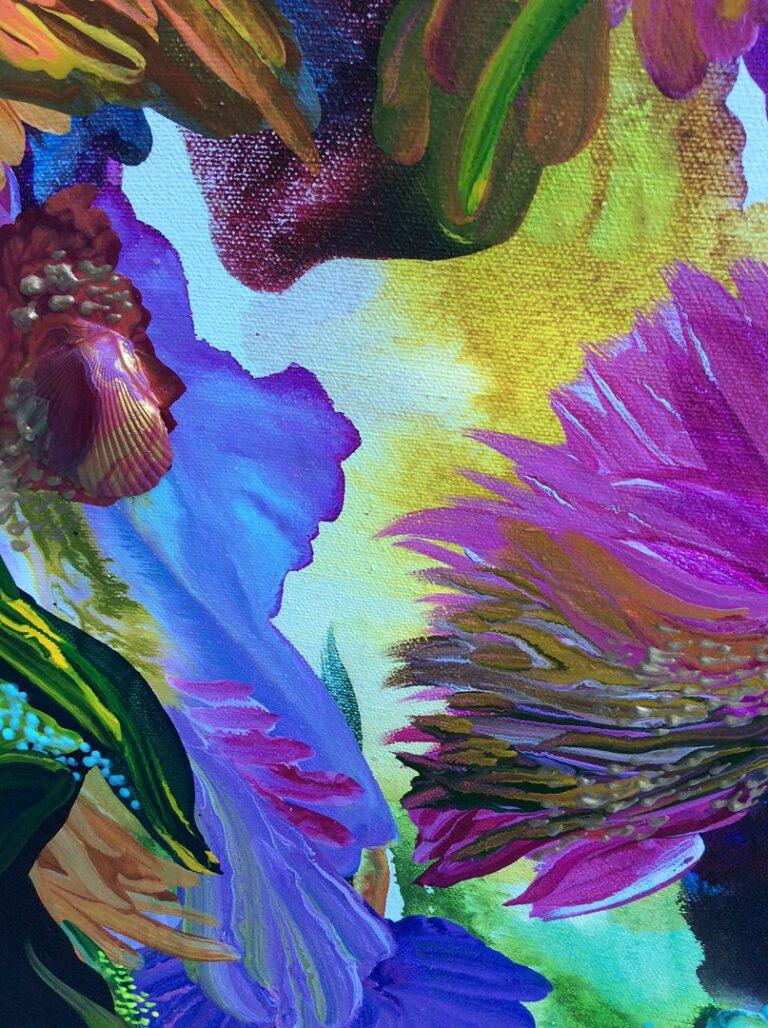 "detail of painting ""Summer in Bloom"" 2021 by Diana Zoe Coop artist"